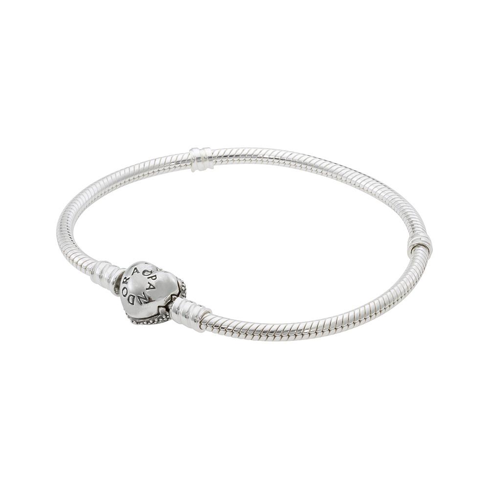 Pandora Moments Sparkling Heart Clasp Snake Chain Bracelet 590743CZ21